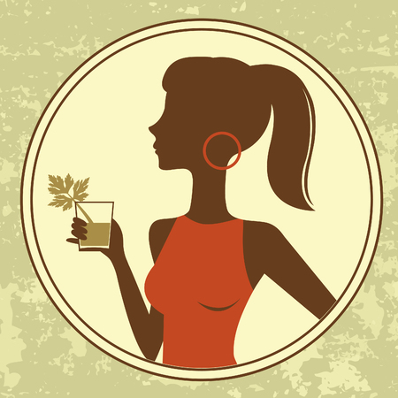 An illustration of a beautiful cocktail girl
