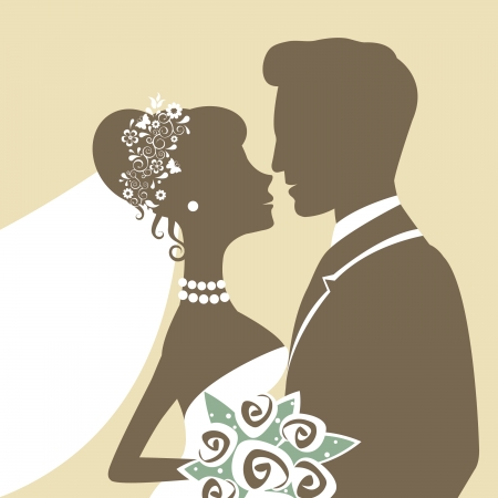 bride bouquet: An Illustration of bride and groom kissing