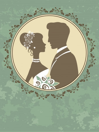 An illustration of bride and groom in love Vector