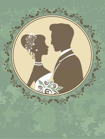 Eine Illustration von Braut und Bräutigam in der Liebe Standard-Bild - 22711749