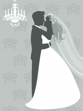 An illustration of bride and groom kissing  Vector format Vectores