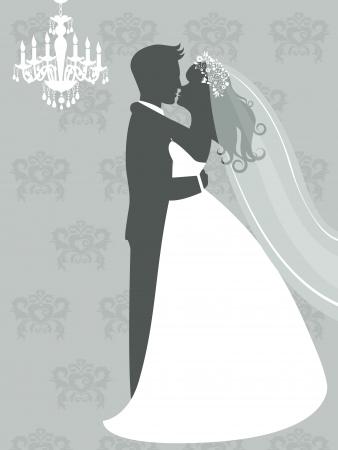 Une illustration de la mariée et le marié embrassant format vectoriel Vecteurs