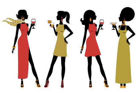 An illustration of chic party girls
