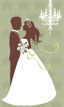 cartoon wedding: An illustration of beautiful young couple getting married Illustration