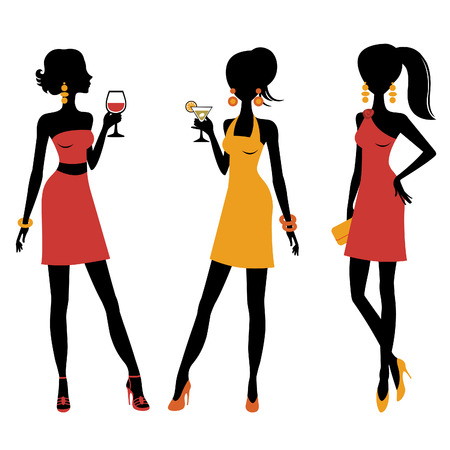 high heeled: An illustration of group of pretty girls at a cocktail party