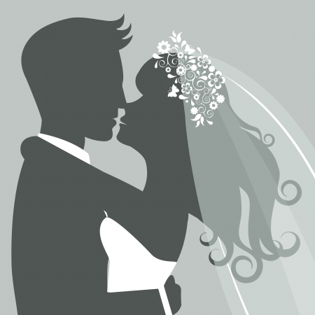 Illustration of Bride and groom kissing Vector