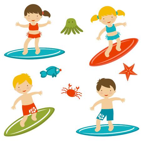 Collection mignonne de surf enfants format vectoriel