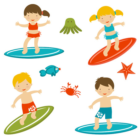 boy swim: Cute collection of surfing kids  Vector format