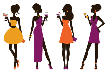 Illustration of four beautiful girls at cocktail party
