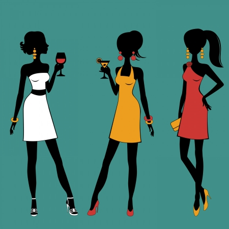 Coulrul illustration of chic girls at a party Stock Vector - 22711760