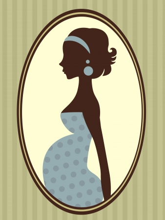 Illustration of beautiful  pregnant  woman portrait
