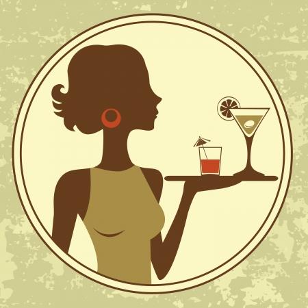 Illustration of beautiful waitress serving drinks Vector