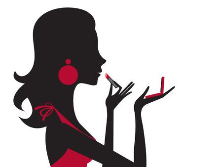 Ilustración de la mujer bonita de aplicar el lápiz labial