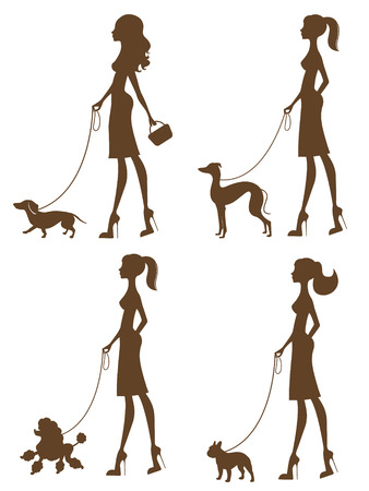 Beautiful women with dogs silhouettes set