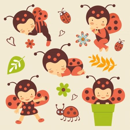 Cute ladybug babies set Vector