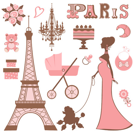 Baby shower Parisienne collection Vector