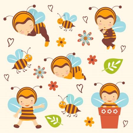 abeja caricatura: Colecci�n linda beb�s abeja