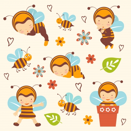 Cute bee babies collection Vector