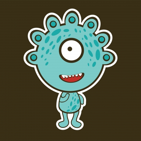 Cute blue monster illustration Vector