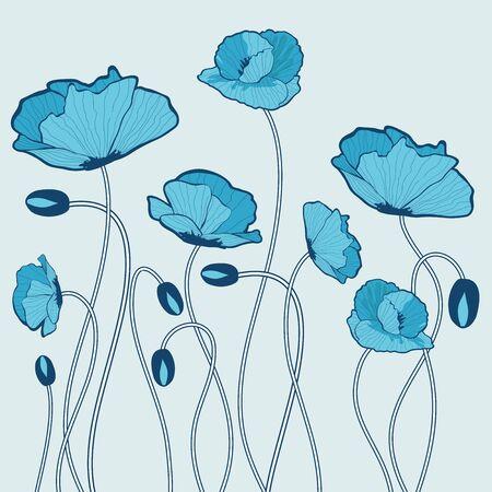 Blue poppy flowers illustration Vector