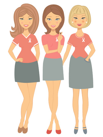 An illustration of three women wearing breast cancer awareness ribbon t-shirts Vector