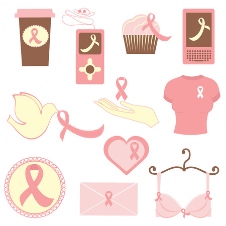 Breast cancer items  Vector