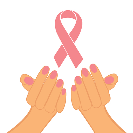 Female hands holding pink ribbon against breast cancer Vector