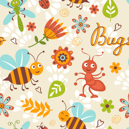 Cute bugs seamless pattern Stock Vector - 22711805