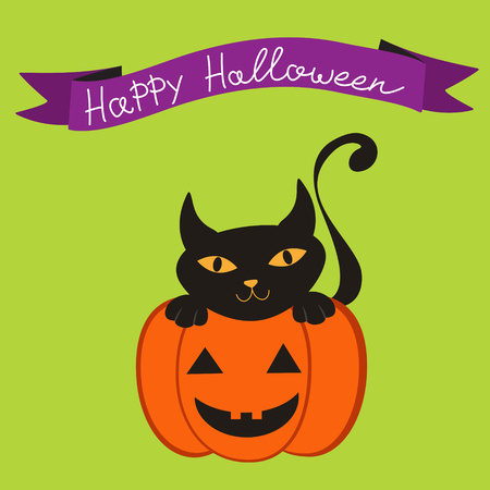 Happy Halloween card with cat and pumpkin Stock Vector - 22711807