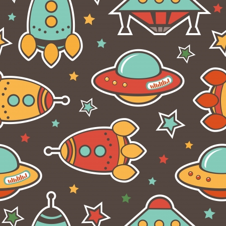 ship sky: Colorful outer space seamless pattern