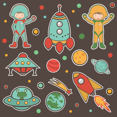 extraterrestrial: Colorful cosmic set Illustration