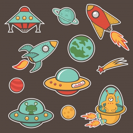 alien clipart: Colorful outer space stickers collection