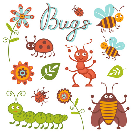 ladybug cartoon: Cute collection of happy little bugs