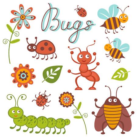 catarina caricatura: Linda colecci�n de peque�os insectos felices Vectores