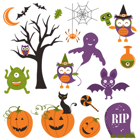 Halloween elements clipart set Vector