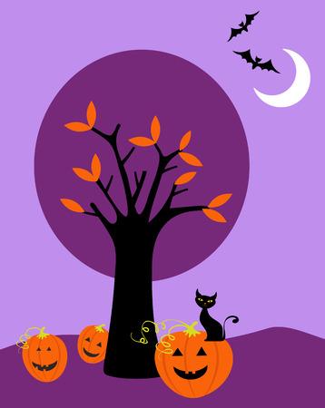 Illustration of Halloween landscape Vector