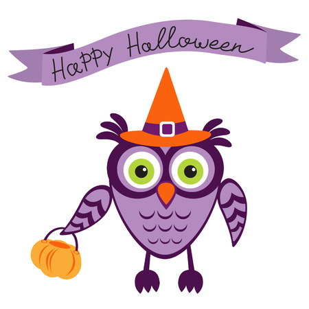 An illustration of cute halloween owl Vector