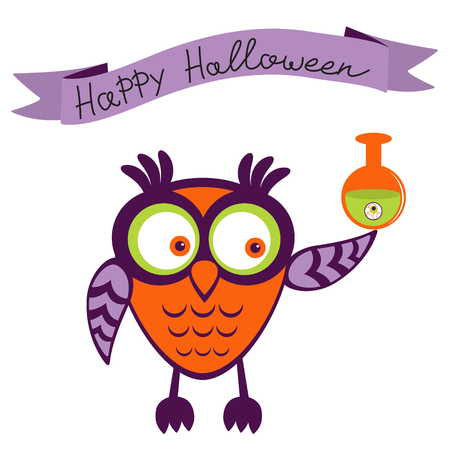 poison bottle: Illustration of cute Halloween owl holding poison bottle