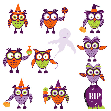 Cute halloween owls collection Vector