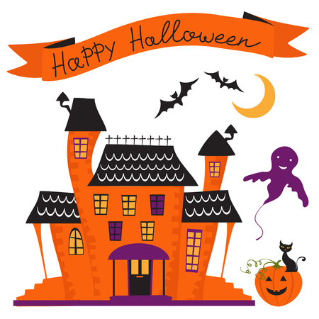 haunted house: Illustration of haunted house and happy halloween ribbon over it Illustration
