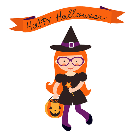 Happy halloween card with cute little witch Vector