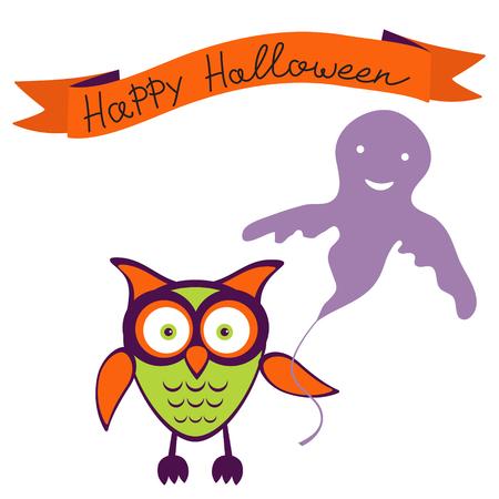 Happy halloween card with owl  holding ballon Vector