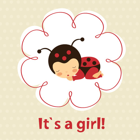 newborn baby girl: Baby girl announcement card with cute ladybug baby girl