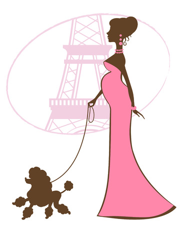 poodle: Illustration of beautiful Mom to be in Paris Illustration