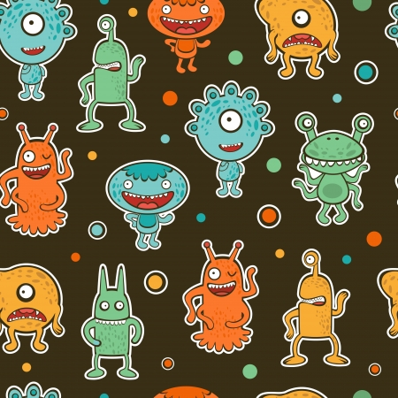 Colorful seamless pattern with monsters Vector