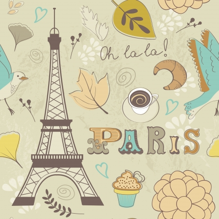 Seamless pattern with Eiffel tower Stock Vector - 22711923