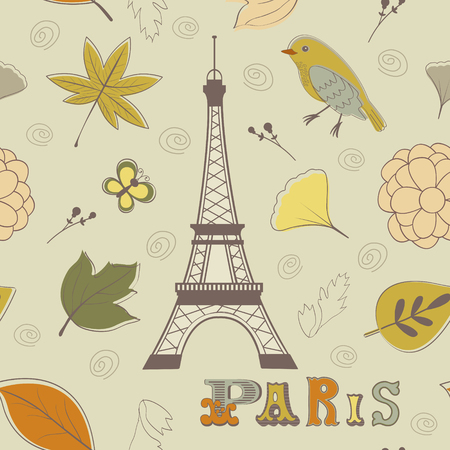 Paris autumn seamless pattern Vector