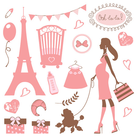 french symbol: Illustration of mom to be in Paris Illustration