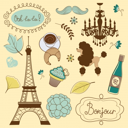 Paris items illustration Vector