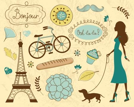 �pastries: Paris art�culos relacionados ilustraci�n Vectores